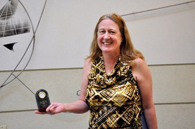 Dr. Fitzgerald and her Alpha Chi award.  Picture by Cory Dugan.