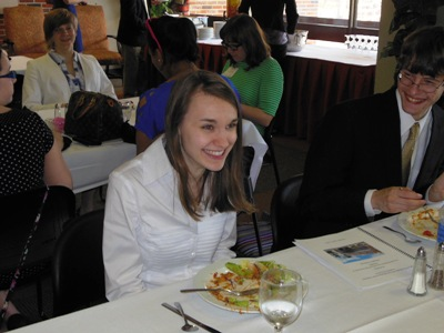Krystyna at the moment of hearing of her scholarship award.