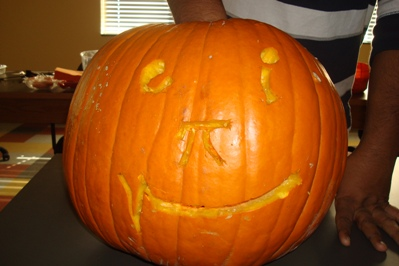 Pumpkin carved last year at the Dress Like a Mathematician Halloween Party and Pumpkin Carving Contest