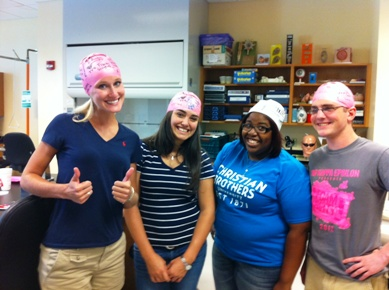 Students working in the BIOL 312 Human Physiology Lab
