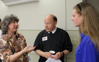 Sarah Fay with her mentors Lynda Miller and Br. Tom Sullivan.