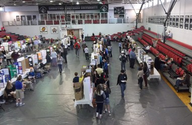 Middle School Students presented posters of their Science Fair projects in Canale Arena (shown above).   Additional Middle School and High School  projects were presented in Sabbatini Lounge and the Montesi Conference Room.
