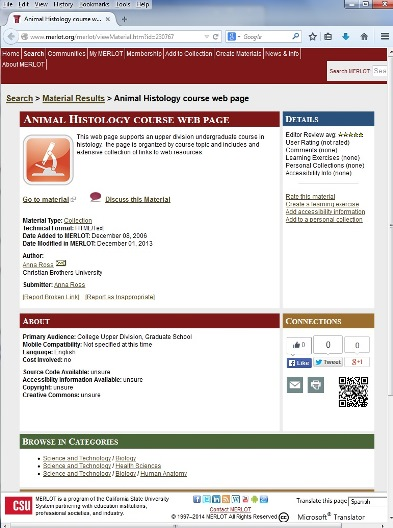 MERLOT-histology page featuring the web resources  of Dr. Anna Ross