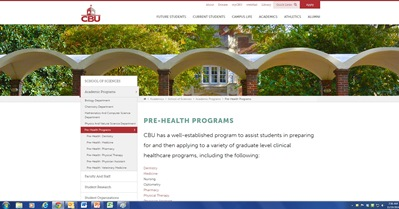 The new Pre-Health web page