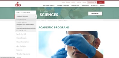 Academics Program web page.