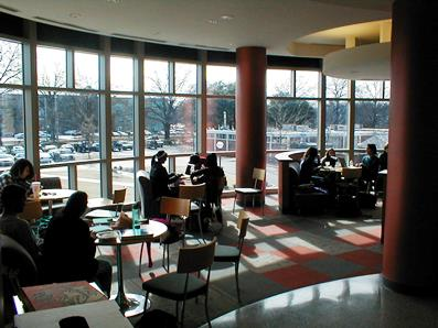 Students make good use of the Student Lounge in CW