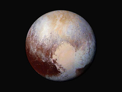 Pluto from the recent fly by.  False color image supplied by NASA New Horizons Gallery
