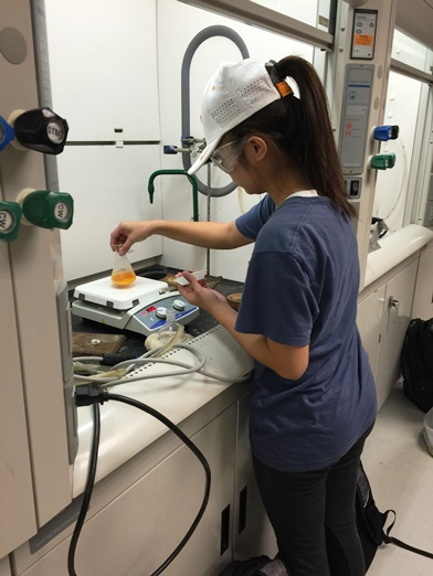 Student working in the Organic Chemistry Lab