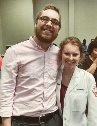 Anna Birg with fiance, Ryan, at her white coat ceremony.